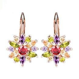 Großhandel 3 Farben Luxus Silber / Rose Gold Farbe Blume Ohrstecker mit Zirkon Stein Frauen Geburtstagsgeschenk Bijouterie YMJIE014
