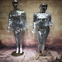 Discount mirrored clothing - DC79 Silver color mirror dance suit ballroom costumes women mask party stage show wears clothe dj singer bar performance
