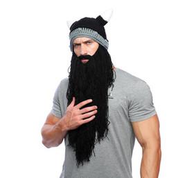 56cb8459ea9 Men s Barbarian Vagabond Viking Long Beard Beanie Handmade Winter Warm Cap  Horn Hats Funny Cosplay Masks Costume Accessories Halloween Mask