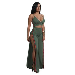 China 2018 Casual Women Fashion Sexy Sling Two Piece Set pants suits Deep v Vest wide leg pants Loose Jumpsuits Trousers Clubwear Summer suppliers