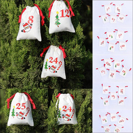 Decor Ornament Australia - Christmas drawstring candy bags cartoon Santa Sack Bags gifts bag home cotton Storage Kids bag Xmas Tree Ornament Decor AAA720