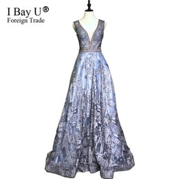 Designs Girls Shirts New Australia - Luxury Grey Blue Crystal Beaded Evening Dresses 2019 New Design Lace Party Guest V Neck Arabic Girl Dubai Prom Gowns