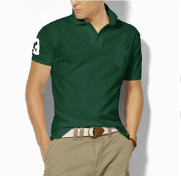 polo big horse UK - New Brand classic Big Horse Solid Short Sleeve Summer 100% cotton Men's Polo shirt size M-XXL,Drop shipping