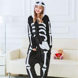 Couple Flannel Skull Pajamas Anime Cartoon Hooded Onesie Pajamas for Men  and women Adult Thick Sleepwear 8721530f5