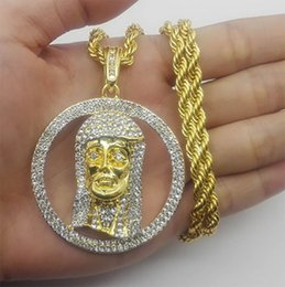 $enCountryForm.capitalKeyWord Canada - Hip hop Gold Tone Iced Out Micro Circle Round Jesus Pendant 5mm 30'' Rope Chain Cuba Chain Necklace Men Women Fashion Jewelry