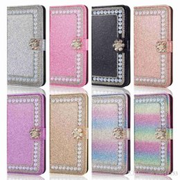 shine pink Canada - Case For Huawei P8 Lite(2017) P9 Lite(2017) P8 Lite P9 Lite P8 Glitter Shine Rhinestone Pearl Card Holder Wallet Full Body