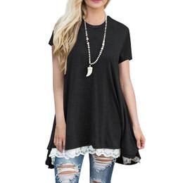 girls shirt s 2019 - Slimmer Women Girls Short Sleeves Casual Round Neck Loose A-Line Lace Top T-shirt discount girls shirt s