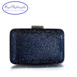 Wholesale High Quality Large Square Hard Box Clutch Navy Crystals Evening Bags for Matching Shoes and Womens Wedding Prom Evening Party