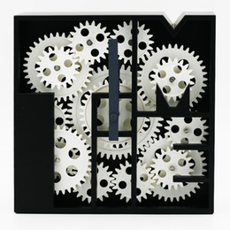 Discount gear cogs - Creative Cogs Clock Cube Living Room Creative Clocks Geometric Gear Clocks ABS Material Clock Bedroom Restaurant Retro