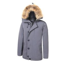 Black parka jacket mens online shopping - Canada Warm Brand Mens Veste Homme Outdoor Winter Jassen Outerwear Big Fur Hooded Fourrure Manteau Down Jacket Coat Hiver Parka Doudoune