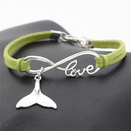 whale tail charms NZ - Dropshipping 10 Colours Green Leather Suede Rope Infinity Love Whale Tail Chain Charm Bracelets Bangles with DIY Jewelry for Women Men Gift