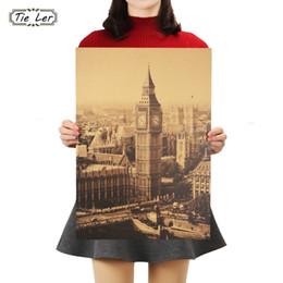 Big Ben Paintings Australia - TIE LER London Famous Building Big Ben Nostalgic Vintage Kraft Paper Poster Decoration Painting Wall Stickers 36 X 51.5cm