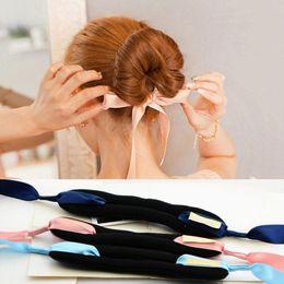 Foam Bun Accessory Canada - Fashion Magic Tools Foam Sponge Device Quick Messy Donut Bun Hairstyle Girl Women Hair Bows Band Accessories Silk Headband