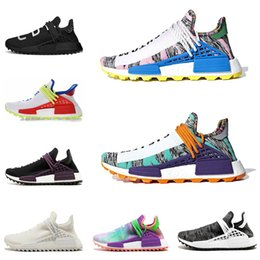 Running shoes lowest pRice online shopping - Different prices Human Race Afro Hu Trial Red Green Pharrell Williams men running shoes Black Solar Pack women trainers sports sneaker