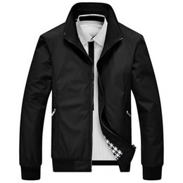 Full Zip Jacket Polyester Australia - Men Jacket Fashion Solid Color Zipper Pocket Light Slim Fit Full Zip Autumn Outerwear Coat