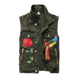 Diamond Vests Men UK - New Men's Slim Denim Vest Coat Outerwear Army Green Embroidery Phoenix Casual Waistcoat Motorcycle Denim Jackets Casual Sleeveless Vest Clot