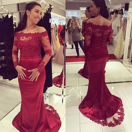 turkey mermaid dress black NZ - 2019 Burgundy Long Sleeve Evening Gowns Dresses Off The Shoulder Mermaid Appliqued Vintage lace turkey plus size formal Prom Dress