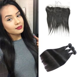 silk frontal hair 2019 - hair Bundles With 13x4 Silk Base Frontal Straight Peruvian Human Hair Hair Extensions 4pcs lot G-EASY cheap silk frontal