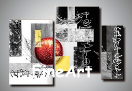 $enCountryForm.capitalKeyWord Australia - handmade oil painting wholesale 3 piece black and white red abstract art home decoration modern oil painting Kungfu Art