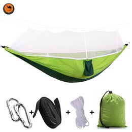 camp bedding UK - Hot Handy Portable Hammock Double Single Folded Person White Net Mosquito Hook Hanging Bed For Camping Travel Kits Outdoor