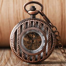 $enCountryForm.capitalKeyWord Australia - 1 Pcs Rose Gold Stripe Design Full Steel Necklace Pendant Fob Chain Hand-Winding Mechanical Pocket Watches For Women Men