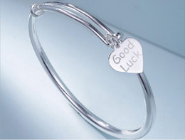 Good Luck Bracelet for Girls and Women,Adjustable Bangle With Love Heart Tag ,S925 Sterling Silver from fringe earrings suppliers