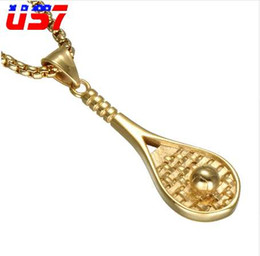 men tennis rackets UK - US7 Hip Hop Tennis Racket Ball Pendants Necklaces Stainless Steel Gold Color Kpop Sport Fitness Jewelry For Men Women Jewelry