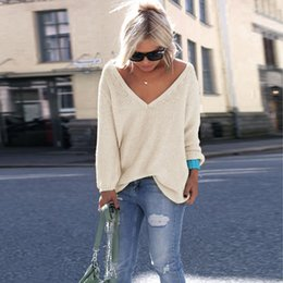 $enCountryForm.capitalKeyWord Canada - Fashion Women Solid Color Long Sleeve Loose Pullovers Knitted Sweater T-shirt V-neck Patchwork Jumper Knitwear Outwear Sweaters