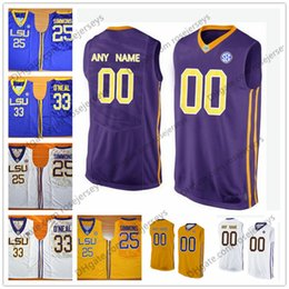3be275e83fa Custom LSU Tigers College Basketball yellow purple white Personalized  Stitched Any Name Number #25 Ben Simmons Shaquille ONeal Jerseys S-3XL
