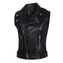 Chinese  leather vests women fashion 2018 PU leather vest winter belt patterns motorcycle vest slim outerwear Waistcoat Jacket in Stock manufacturers