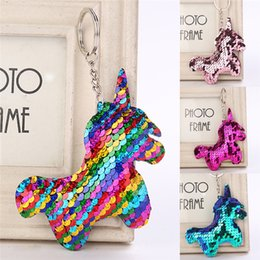 Wholesale nice cars online – design Nice Shiny Unicorn Horn Glitter Pompom Mermaid Sequins Key Ring Gifts for Women Mujer Charms Car Bag Accessories Horse Key Chain
