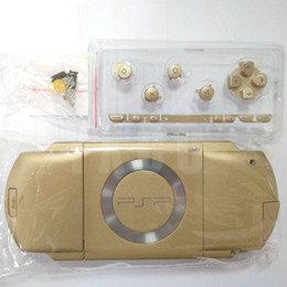 Wholesale Gold color replacement full housing shell cover case with buttons kit for PSP1000 PSP 1000 Game Console Repair Parts