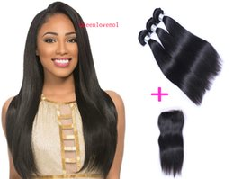 Free Fedex shipping online shopping - Brazilian Straight Hair Bundles with Closure Free Middle Part Double Weft Human Hair Extensions Dyeable Human Hair Weave FEDEX Shipping