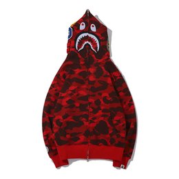 Wholesale red jackets hoodie for sale – winter Newest Lover Camo Shark Print Cotton Sweater Hoodies Men s Casual Purple Red Camo Cardigan Hooded Jacket Sizes M XL