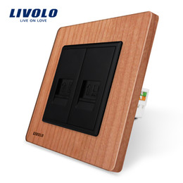 Outlet wOOd online shopping - Livolo Manufacture EUstandard Cherry wood Panel Gangs Wall Tel and Com Socket Outlet VL C791TC Without Plug adapter