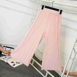 loose wine 2019 - lady wide leg pants for women calf length summer pant black gray wine fashion pleated leggings regular or loose capris d