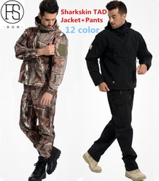$enCountryForm.capitalKeyWord Australia - TAD Tactical Men Army Hunting Hiking Fishing Explore Clothes Suit Camouflage Shark Skin Military Waterproof Hooded Jacket+Pants