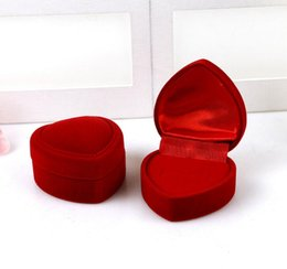 Wholesale Boxes Packaging Australia - Gift Wedding Boxes Heart Shaped Ring Box Mini Cute Red Carrying Cases For Rings Hot Sale Display Box Jewelry Packaging Gift Boxes