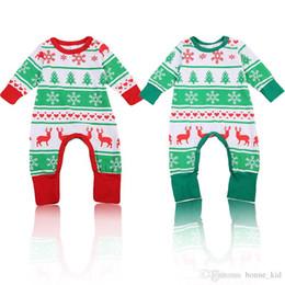 $enCountryForm.capitalKeyWord NZ - Christmas baby boy girl reindeer pajamas jumpsuit red green 2 colors unisex XMAS romper clothing toddler bodysuit cute children kid clothes