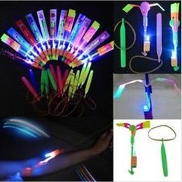 Flying Ufo Toy Helicopter NZ - LED Arrow Helicopter LED Amazing Arrow Helicopter Umbrella parachute Kids Toys Space UFO LED Flying Toys Christmas Halloween Flash Toys