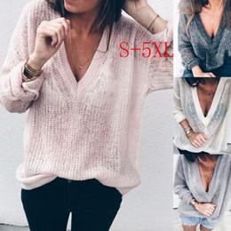 $enCountryForm.capitalKeyWord NZ - 2018 Autumn Winter Pattern Knitting sweater Sexy Deep V neck pullover sweater jumper women streetwear pull femme hiver