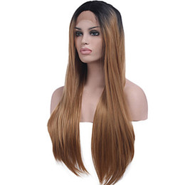 cheap ombre lace wigs UK - Longe Cheap Ombre heat resistant hair straight black Brown glueless synthetic lace front wig middle part combs&straps