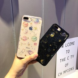 Discount capa iphone glitter - Universe moon star Phone Case For iphone X Case Fashion Glitter Bling Back Cover Lovely Cartoon Cases For iphone 6 6S 7