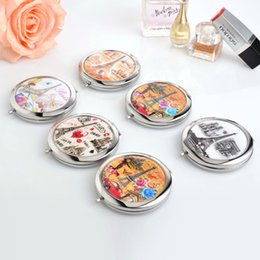 Wholesale Mini makeup compact pocket mirror makeup wedding party bridesmaid gifts girl birthday present Paris Eiffel Tower flower