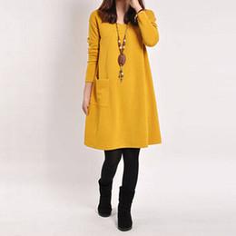 953d40a218 Wholesale-2018 New Autumn Winter Elegant Women Casual Long Sleeve Pocket  Dress Solid O Neck Loose Dresses Vestidos Plus Size S-XXL 3 Color