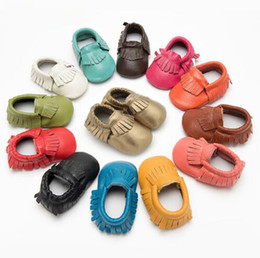 Wholesale New arrival baby moccasins soft genuine leather moccs booties toddler shoes baby tassel prewalker baby shoes