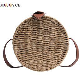 2018 Round Straw Bags Women Summer Rattan Bag Handmade Woven Beach Cross  Body Bag Circle Bohemia Handbag Messenger soft weave beach bag promotion f62e8c308f770