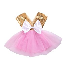 tutu boutique wholesale UK - Baby Sequin dress TUTU lace Bow Princess dresses 2018 new fashion summer Kids Clothing Boutique girls V-Neck Ball Gown C3548