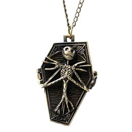 Chinese  Nightmare Before Christmas Pocket Watch Refined 3D Jack Skull Sculpture Slim Necklace Kids Clock Unique Children Halloween Gifts manufacturers