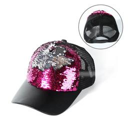 Women Glitter Ponytail Baseball Cap Sequins Shine Summer Mesh Trucker Hat  Adjustable Baseball Cap Sports Floral Snapback Caps f91b0e91d2b0